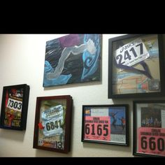Shadow boxing is a great way to preserve & display race memories & accomplishments. I love adding to our running wall!