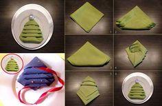 Creative Ideas - DIY Christmas Tree Napkin Fold | iCreativeIdeas.com Follow Us on Facebook --> https://www.facebook.com/iCreativeIdeas