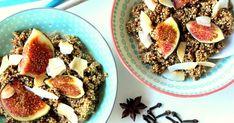 SKOŘICOVÁ QUINOA KAŠE S FÍKY Quinoa, Acai Bowl, Oatmeal, Veggies, Cooking, Breakfast, Fitness, Blog, Acai Berry Bowl
