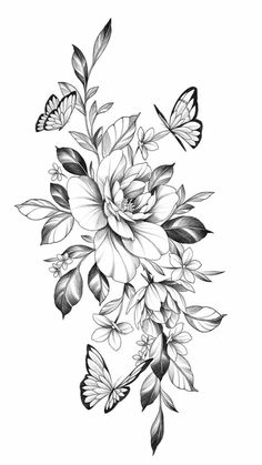 Hip Thigh Tattoos, Hip Tattoos Women, Sleeve Tattoos For Women, Floral Tattoo Design, Flower Tattoo Designs, Flower Tattoos, Floral Mandala Tattoo, Bild Tattoos, Body Art Tattoos