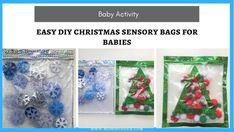 Easy Christmas Sensory Bags For Babies Christmas Tree Design, Christmas Colors, Simple Christmas, Dollar Store Christmas, Diy Christmas Gifts, Baby Activity Gym, Infant Activities, Work Activities, Sensory Bags