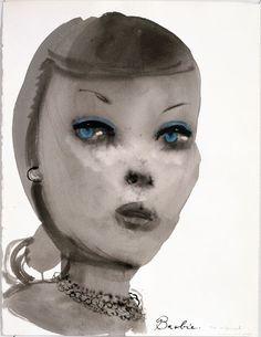 Marlene Dumas 'Barbie (with pearl necklace)' at expo 'Zij was eens...' in Tetem kunstruimte