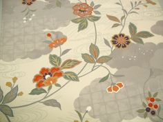 Floral Vintage Japanese Tango chirimen silk by CosimaOrimono, $26.00