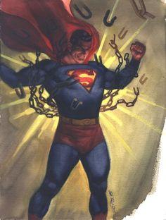 Superman in 2013 Sketchbook by Steve Rude Comic Art