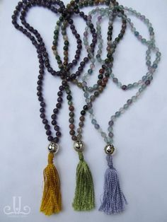 jewelry - Japa Mala Amethyst, Fancy Jasper and Fluorite. OM symbol