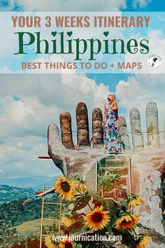 3 weeks / 21 days Philippines route. Hey, you're looking for dream beaches and adventure in the pacific? In this Travel Guide you find all travel & insider tips you need to know to simplify your planning for the Philippines / South-east Asia with perfect city trip destinations like Manila. Find itineraries including maps with all things to do and must-see places in the region with beautiful islands like Cebu, Bohol, Siargao, Bohacay or El Nido / Palawan | best Instagram photo spots…