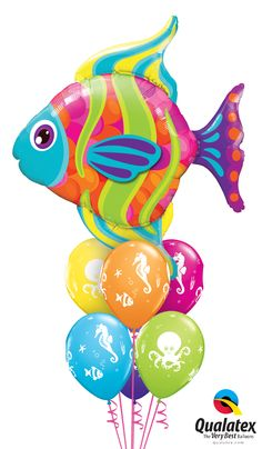 "This ""fin-tastic"" bouquet of colorful balloons is perfect for a #tropical or #undersea themed party."