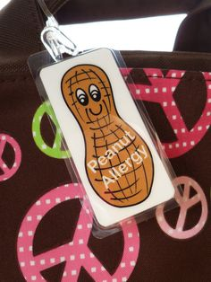 Peanut Allergy Alert bag tag allergy alert tag by by Toddletags, $5.75
