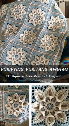 Purifying Puritans Crochet Afghan Block - Best Hair Styles EVER Crochet Squares Afghan, Crochet Poncho Patterns, Granny Square Crochet Pattern, Crochet Blocks, Crochet Patterns For Beginners, Crochet Motif, Crochet Yarn, Crochet Stitches, Crochet Afghans