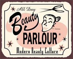 Beauty Parlor All Day Vintage Metal Art Barber Salon Retro Tin Sign