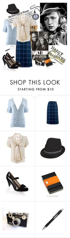 """""""Nancy Drew - Reporter"""" by bramblewoodfashion ❤ liked on Polyvore featuring Gibson, Local Celebrity, Luella, French Connection, Moleskine, Therapy and nancy drew"""
