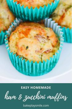 Our zucchini muffins with ham and cheese are a delicious savoury snack or lunch box treat... plus they're 100% kid-approved and super easy to make!   #healthy #zucchini #muffins #ham #cheese #thermomix #conventional #recipe #easy #lunchbox #snack #savoury