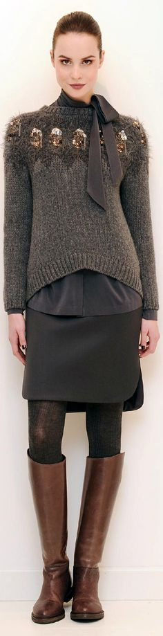 Everything about this outfit, yes. Brunello Cucinelli, bling grey sweater, brown boots, neutral stying