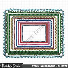 Stacking Borders - Glitter from Paula Kim Studio on TeachersNotebook.com -  (36 pages)  - Stacking Borders Clipart - Glitter