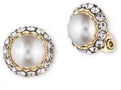 Anne Klein Pearl and Glitz Clip Earrings