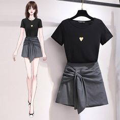 Classic T-shirt + Stylish Irregular Skirt Set – Orchidmet Fashion Drawing Dresses, Fashion Illustration Dresses, Drawing Fashion, Cute Casual Outfits, Pretty Outfits, Korean Girl Fashion, Fashion Terms, Dress Sketches, Fashion Design Sketches