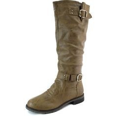 """Save 10% + Free Shipping Offer *   Coupon Code: Pinterest10 Material: Man Made (Faux) Leather Height: 1.25 inches heel, 0.25 inch platform These pretty walkable thick heel knee high boots are perfect for your all day activity. Zipper (about 14.5"""" long) on the side for easy slip on purposes. Styles with buckles on the side for decor and finish with shaft circumference measures approximately 15"""". Rubber out sole. Women's Knee High Cowboy Combat Rider Flat Heel Boots Tan PU Leather"""