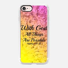WITH GOD ALL THINGS ARE POSSIBLE - Matthew 19:26 Colorful Bright Neon Sunshine Yellow Pastel Pink Ombre Splash Fine Art Christian Bible Verse Scripture Typography Inspiration - Classic Grip Case