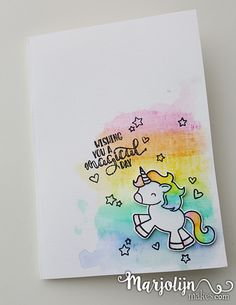 Rainbow Unicorn Card By MarjolijnMakes Watercolour Rainbows And Avery Elles Be A Stamp DiysUnicorn CardsUnicorn Birthday