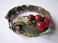 Vintage-Deco-Neiger-Red-Glass-Cherries-Leaves-Filagree-Hinged-Bracelet