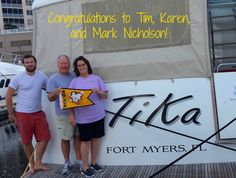 """Congratulations to Tim, Karen, and Mark Nicholson on completing the Great Loop! Aboard their 52' Beneteau, """"TiKa,"""" they crossed their wake at Legacy Harbour Marina, on November 4, 2015.  """"We're so very grateful for all the experiences and the wonderful people we've met,"""" the Nicholsons said"""