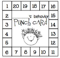 Behaviour punch cards:  At the end of a good day, they get a hole punched in their Behavior Punch Card. After they get 20 hole punches they get to pick out of the prize box! I copy the punch card on colored cardstock and I have my kiddos store them in their pencil boxes, but you could add a magnet to the bottom and have them stick them under their desks.  Click the picture to download