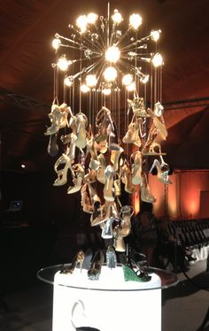 Fabulous Brown Shoe Company shoe chandelier at St. Louis Fashion week.