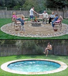 This pool is awesome. Hidden pools. The ground moves up and down. Can be the cover for a patio. And have different depths: A wadding pool for children, and paddling pool/spa depth, and big pool/ cannon ball depth. Floor/cover moves in 2 minutes.