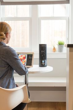 Staying cool in a clean and bright work space with the Honeywell Slim Tower fan. Sponsored.