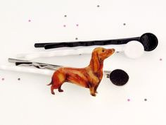 Hair Grips – Hairpin - Dachshund - for the right side - drawing – a unique product by fraufischersSpielwiese on DaWanda