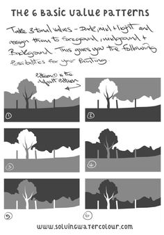 How To Paint A Simple Landscape in Watercolour From a Photograph And Sketches Watercolor landscape tutorial. There are 6 basic value patterns you can apply to a landscape painting Watercolor Landscape Tutorial, Watercolor Painting Techniques, Watercolor Landscape Paintings, Watercolour Tutorials, Landscape Drawings, Landscape Art, Watercolor Paintings, Painting & Drawing, Landscape Lighting