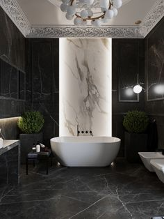 🖤🖤 Luxury bathroom with classical architecture and contemporary design in Novosibersk, Russia 🖤🖤 designed by Anastasiia Romonova ♠️ We are currently custom making a smaller version of this Anna chandelier for one of our clients ♠️ Dream Bathrooms, Amazing Bathrooms, Small Bathrooms, Modern Interior, Home Interior Design, Bathroom Design Luxury, Bathroom Layout, Bathroom Ideas, Bathroom Designs