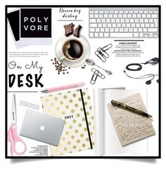 """""""What's on My Desk?"""" by dolly-valkyrie ❤ liked on Polyvore featuring interior, interiors, interior design, home, home decor, interior decorating, Kate Spade and onmydesk"""