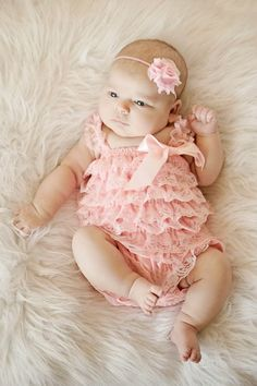Light Pink Lace Romper Set Pink Baby by SweetFlowersBoutique