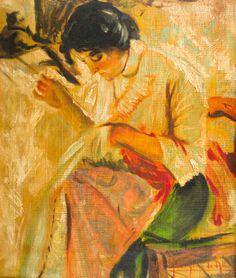 GEORGINA DE ALBUQUERQUE - (1885 - 1962)    Título: Bordando  Técnica: óleo sobre madeira  Medidas: 32 x 27 cm  Assinatura: canto inferior direito