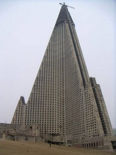12. Ryugyong Hotel, North Korea  It was an ambitious plan gone awry. In 1987, North Korea began building a 105-floor, 3000 room pyramid-shaped luxury hotel in Pyongyang in anticipation of a tourist boom that never materialized.    Photo: wikimedia