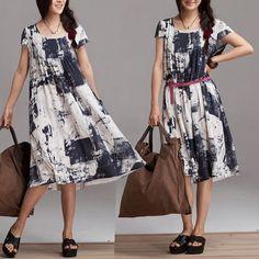 Montaje suelto del vestido corto las mujeres Maxi vestido