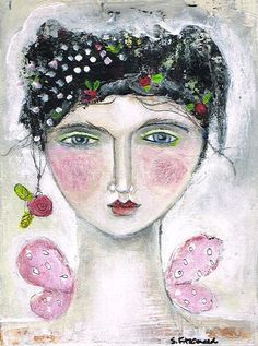 Mixed Media Painting Print Modern Folk Art by kittyjujube, $6.00