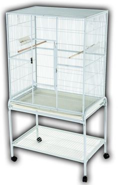"A&E Cage 13221 Blue 32""x21"" Flight Cage & Stand. Technical Details• Exterior Dimensions: 32""x21""x63""• Interior Height: 35""• Bar Spacing: 0.5""Product Features• Bird proof front door & feeder door locks• Stand included• Vertical bars• Slide-out grill & tray• 2 wood perches & 2 feeder stations• 1 large front door for easy access• 1 breeder door• 4 easy rolling casters• Bottom shelf for storage• Non-toxic, durable and safe powder coated finish"