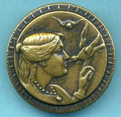 Large Picture Button...Pretty Lady Kissing Bird...Hand, Necklace....So Detailed!