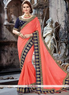 Peach Saree with Dark Blue Blouse Peach Saree, Party Wear Sarees Online, Wedding Saree Collection, Saree Trends, Saree Models, Stylish Sarees, Designer Sarees Online, Elegant Saree, Movies