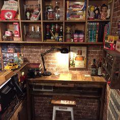 アメリカン雑貨が似合う部屋にしたいと思い、棚から机から全てDIY  DIY/男前/男の趣味部屋/部屋全体のインテリア実例 - 2015-04-18 22:59:55 | RoomClip(ルームクリップ)