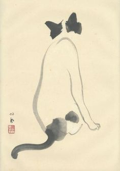 Painting in sumi on paper of a cat. C. 1920    Takeuchi Seiho