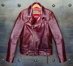 This Limited Edition Horween Motorcycle Jacket is a Dapper Burgundy #fashion trendhunter.com