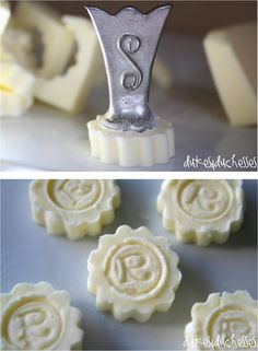 """DIY Monogram Butter Pats!  """"S'"""" IS FOR SHELLY...only one """"E"""" ...please, but you can add as many """"S""""s as U wood like...mmmm"""