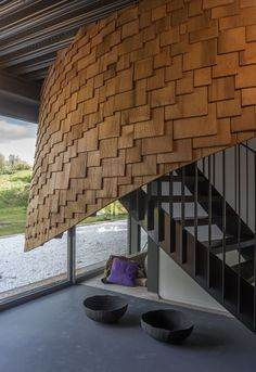 Image 18 of 47 from gallery of Puur Pavilion / emma Architecten. Photograph by John Lewis Marshall Brick Molding, Mirror House, Wood Architecture, Flood Zone, New Property, Polished Concrete, Staircase Design, Victorian Homes, Cladding