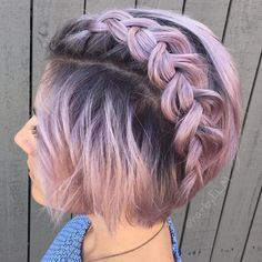 Lavender+Bob+With+Root+Fade+And+Braid