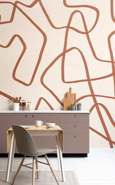 If you love abstract and intriguing design, look no further than the Terracotta and Beige Cool Doodle Abstract Wallpaper Mural, a fun made to measure mural. Normal Wallpaper, Standard Wallpaper, How To Hang Wallpaper, Kitchen Wallpaper Murals, Home Wallpaper, Blue Geometric Wallpaper, Unique Wallpaper, Terracotta, Doodle Techniques