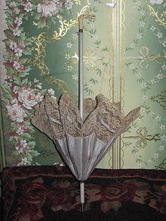 SUPERB All Original Antique French Silk/Lace Doll Parasol!