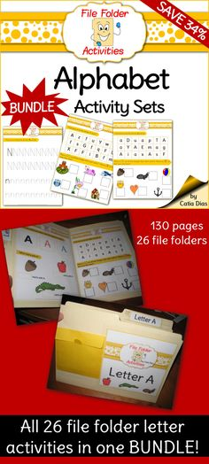 Alphabet fun! File Folder Activities! Save 34% when you purchase the BUNDLE!! ($$)